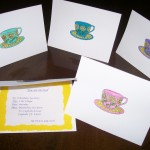 The Birthday Tea Party & Etiquette Class includes 1 hour to guide the Birthday Girl in creating (optional), writing and addressing her invitations and thank you cards. These cards are hand-stamped, embossed and colored with markers.